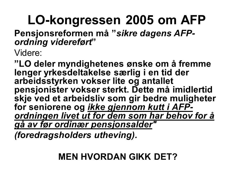 """LO-kongressen 2005 om AFP Pensjonsreformen må """"sikre dagens AFP- ordning videreført"""" Videre: """"LO deler myndighetenes ønske om å fremme lenger yrkesdel"""
