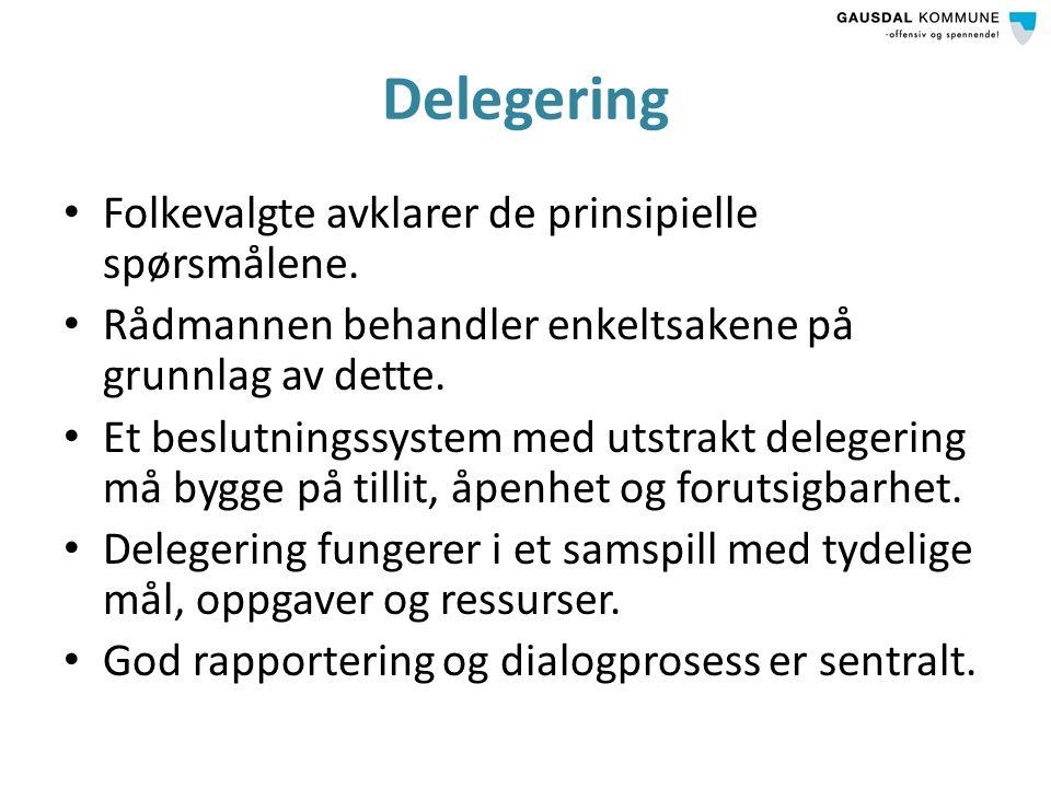 Delegering Folkevalgte avklarer de prinsipielle spørsmålene.