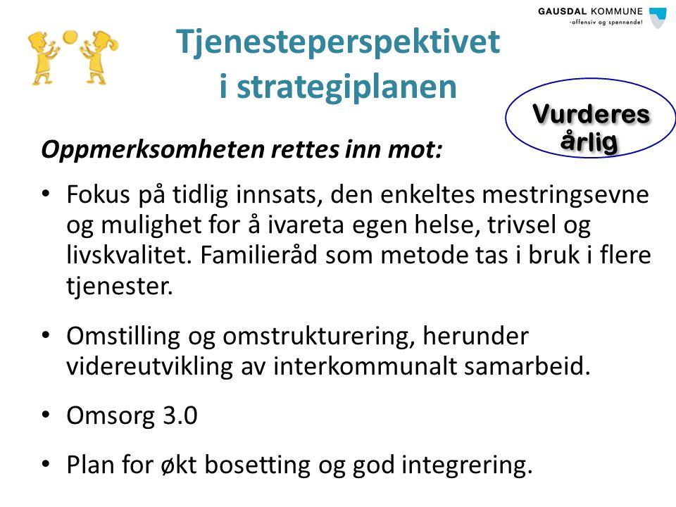 Tjenesteperspektivet i strategiplanen Oppmerksomheten rettes inn mot: Fokus på tidlig innsats, den enkeltes mestringsevne og mulighet for å ivareta egen helse, trivsel og livskvalitet.