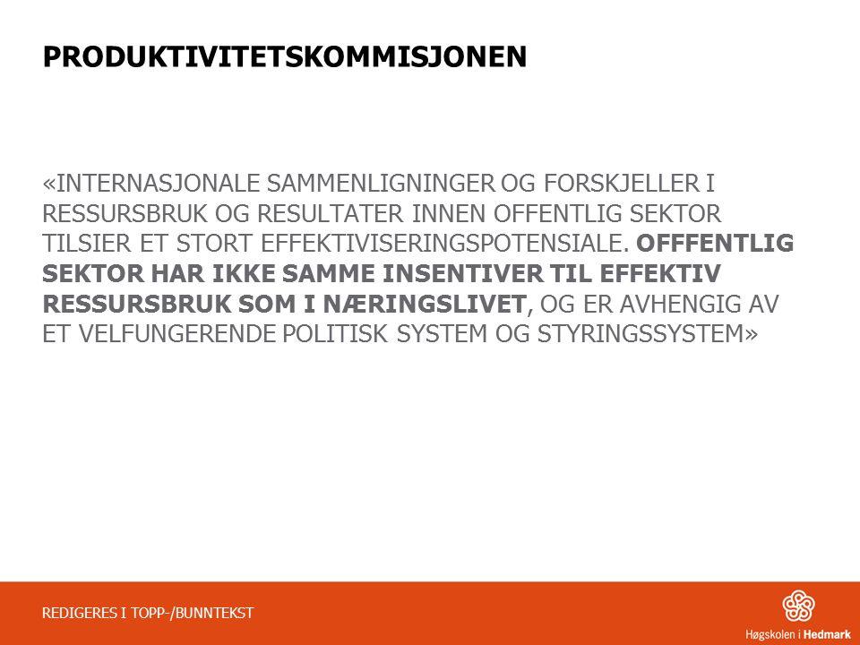 PRODUKTIVITETSKOMMISJONENS PÅSTAND REDIGERES I TOPP-/BUNNTEKST