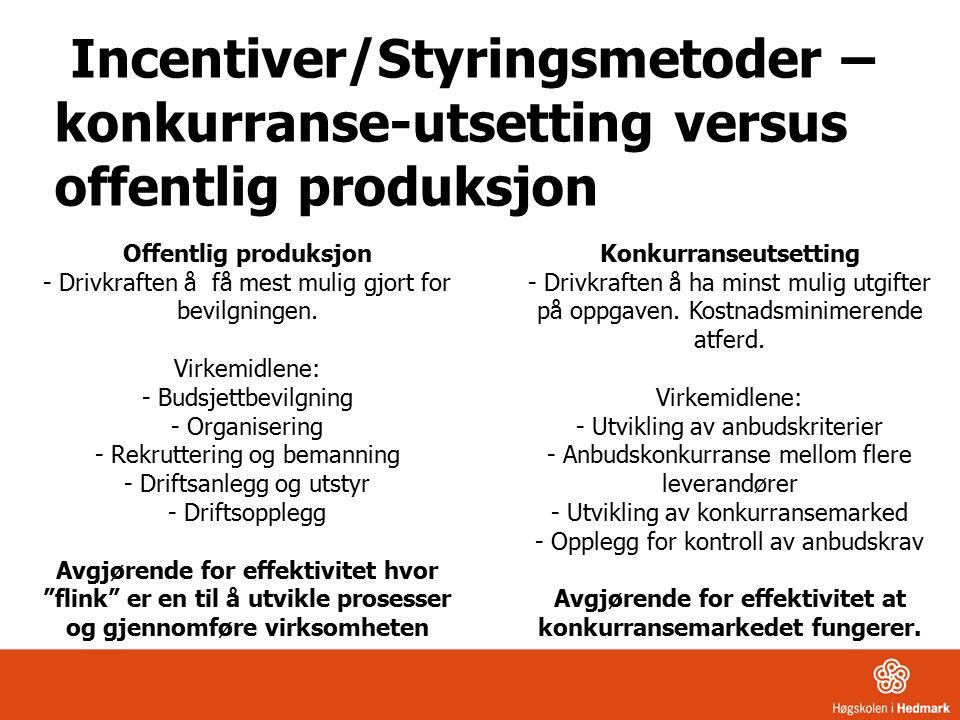 Incentiver/Styringsmetoder – konkurranse-utsetting versus offentlig produksjon Offentlig produksjon - Drivkraften å få mest mulig gjort for bevilgningen.