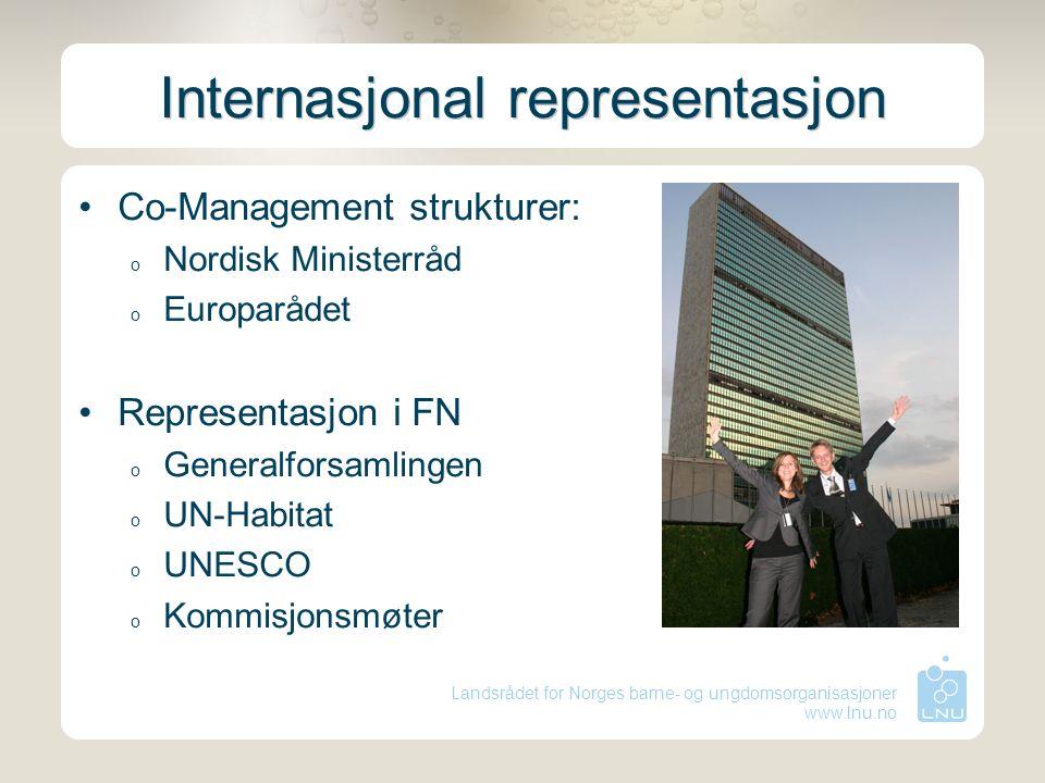 Landsrådet for Norges barne- og ungdomsorganisasjoner www.lnu.no Internasjonal representasjon Co-Management strukturer: o Nordisk Ministerråd o Europarådet Representasjon i FN o Generalforsamlingen o UN-Habitat o UNESCO o Kommisjonsmøter