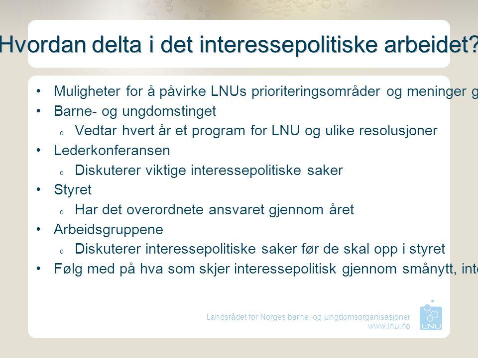 Landsrådet for Norges barne- og ungdomsorganisasjoner www.lnu.no Hvordan delta i det interessepolitiske arbeidet? Muligheter for å påvirke LNUs priori