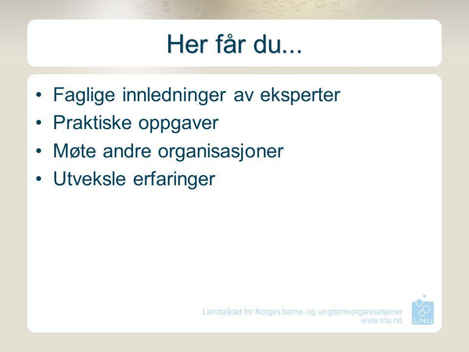 Landsrådet for Norges barne- og ungdomsorganisasjoner www.lnu.no Her får du... Faglige innledninger av eksperter Praktiske oppgaver Møte andre organis