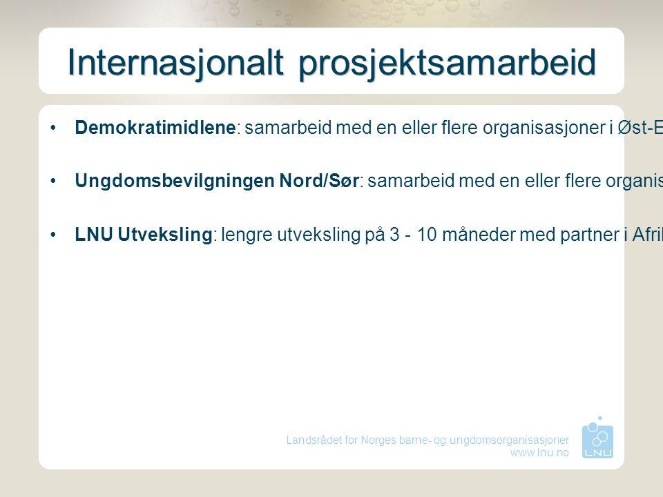 Landsrådet for Norges barne- og ungdomsorganisasjoner www.lnu.no Internasjonalt prosjektsamarbeid Demokratimidlene: samarbeid med en eller flere organ
