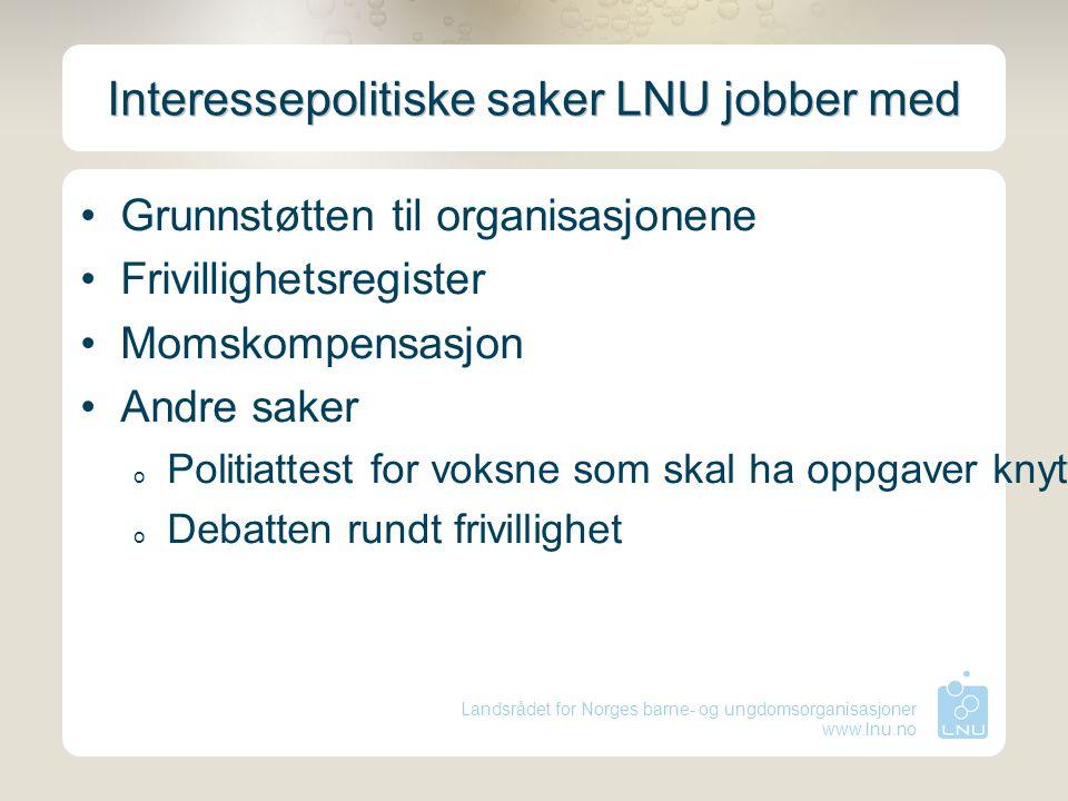 Landsrådet for Norges barne- og ungdomsorganisasjoner www.lnu.no Interessepolitiske saker LNU jobber med Grunnstøtten til organisasjonene Frivillighet