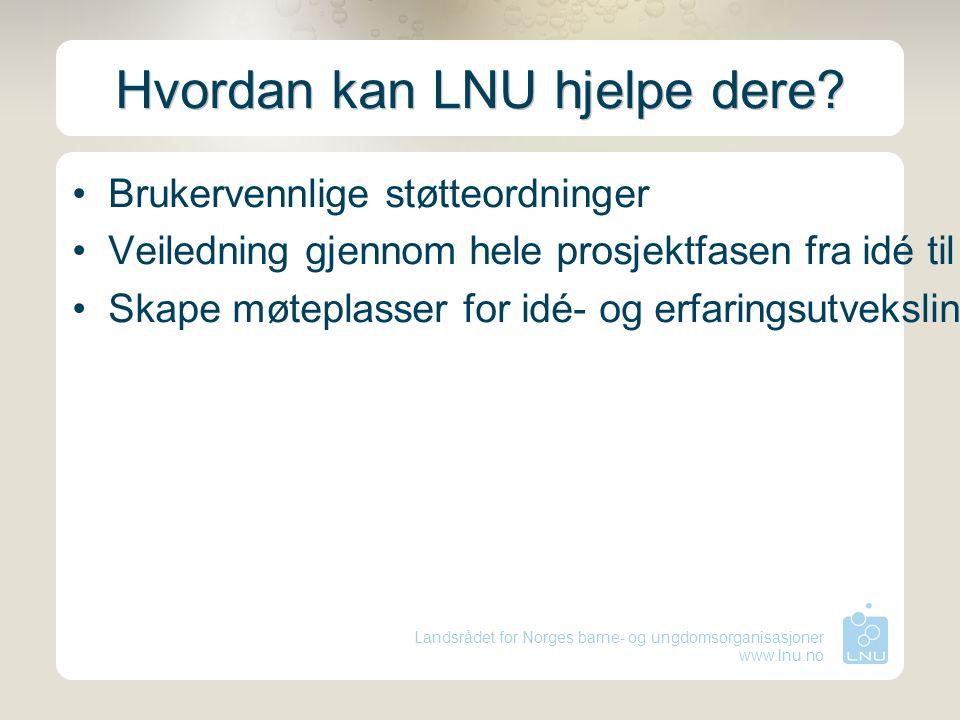 Landsrådet for Norges barne- og ungdomsorganisasjoner www.lnu.no Hvordan kan LNU hjelpe dere? Brukervennlige støtteordninger Veiledning gjennom hele p