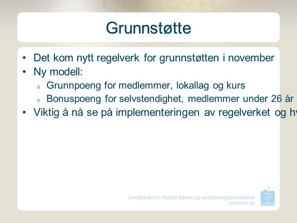 Landsrådet for Norges barne- og ungdomsorganisasjoner www.lnu.no Grunnstøtte Det kom nytt regelverk for grunnstøtten i november Ny modell: o Grunnpoen