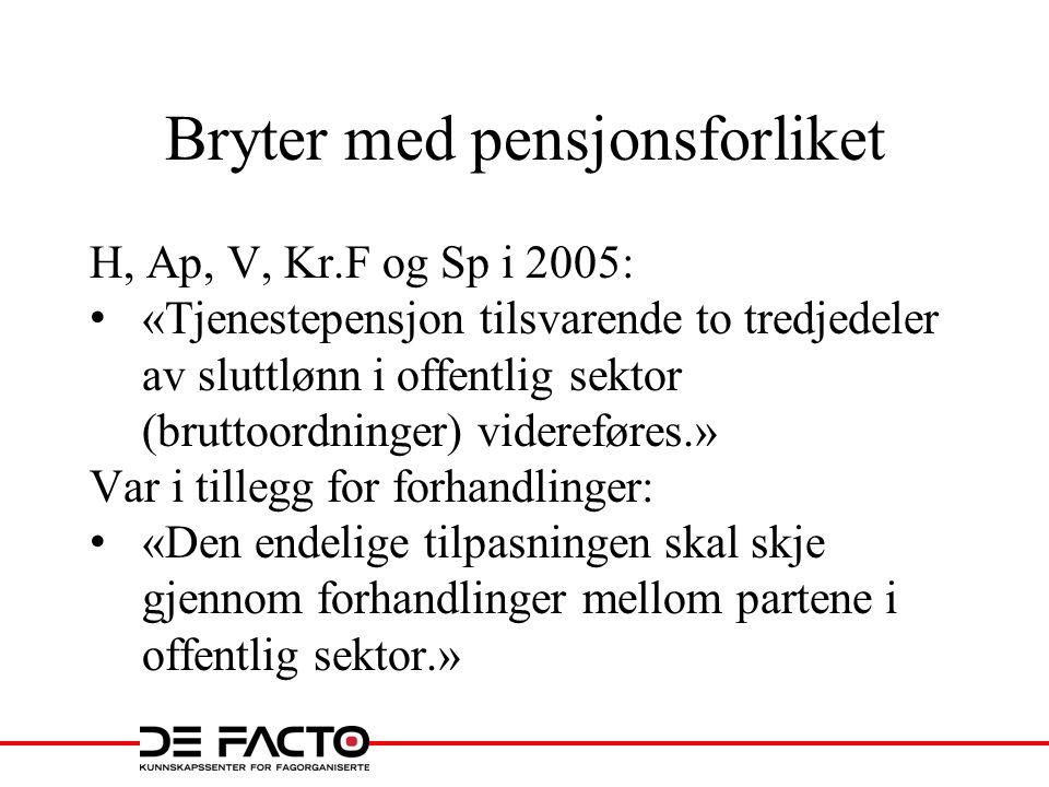 Bryter med pensjonsforliket H, Ap, V, Kr.F og Sp i 2005: «Tjenestepensjon tilsvarende to tredjedeler av sluttlønn i offentlig sektor (bruttoordninger)