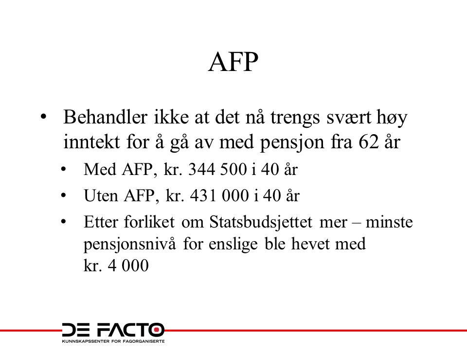 AFP Behandler ikke at det nå trengs svært høy inntekt for å gå av med pensjon fra 62 år Med AFP, kr. 344 500 i 40 år Uten AFP, kr. 431 000 i 40 år Ett