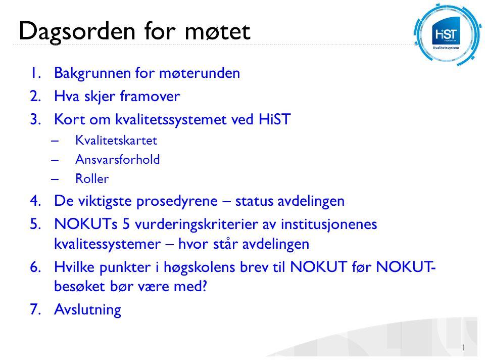 Bakgrunnen for møtet Dobbel bakgrunn: 1.Kvalitetssystemet revidert for 2 år siden, med etterfølgende arbeid med rutinebeskrivelser + nettsider: på tide å ta en felles gjennomgang av systemet 2.NOKUTs 2.