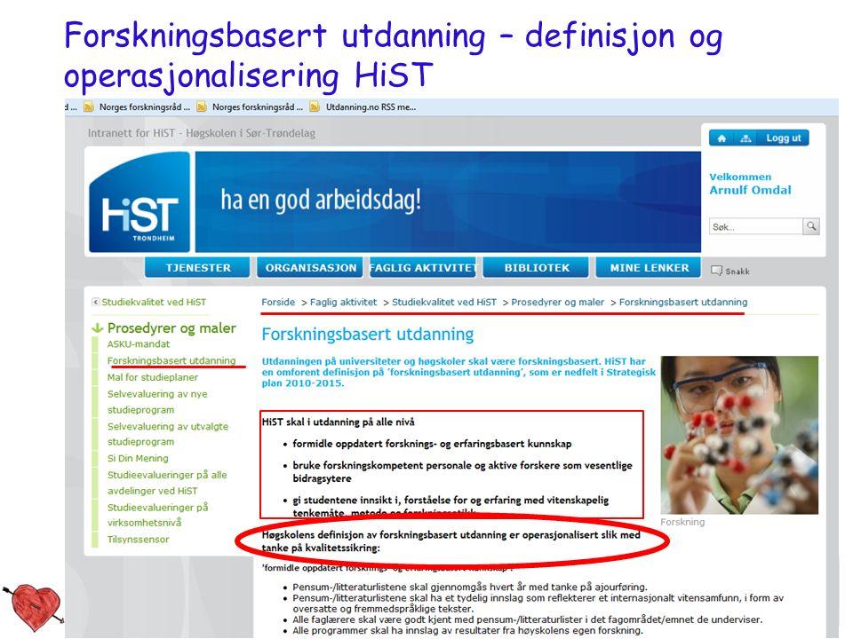 Studiekvalitetsdag 180912_aomdal 8 Forskningsbasert utdanning – definisjon og operasjonalisering HiST
