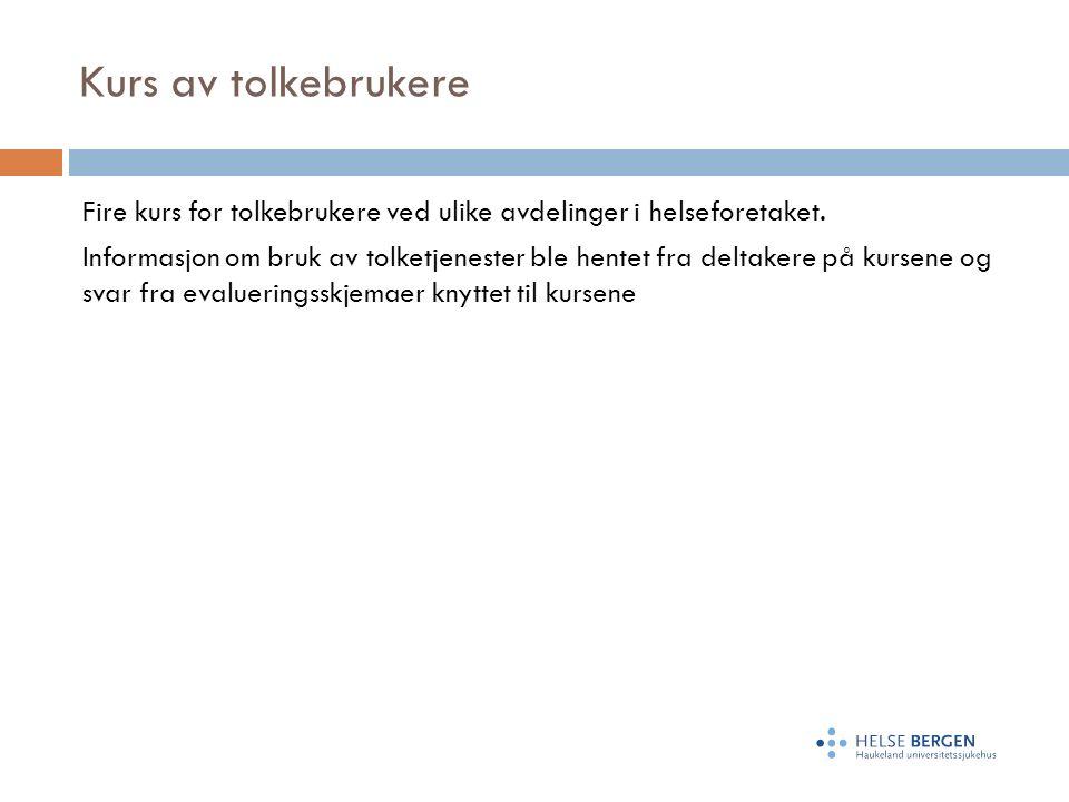Kurs av tolkebrukere Fire kurs for tolkebrukere ved ulike avdelinger i helseforetaket.