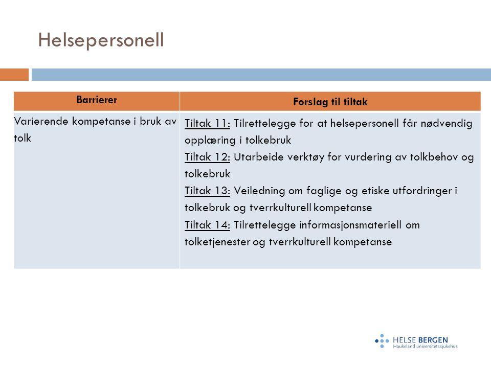 Helsepersonell Barrierer Forslag til tiltak Varierende kompetanse i bruk av tolk Tiltak 11: Tilrettelegge for at helsepersonell får nødvendig opplæring i tolkebruk Tiltak 12: Utarbeide verktøy for vurdering av tolkbehov og tolkebruk Tiltak 13: Veiledning om faglige og etiske utfordringer i tolkebruk og tverrkulturell kompetanse Tiltak 14: Tilrettelegge informasjonsmateriell om tolketjenester og tverrkulturell kompetanse