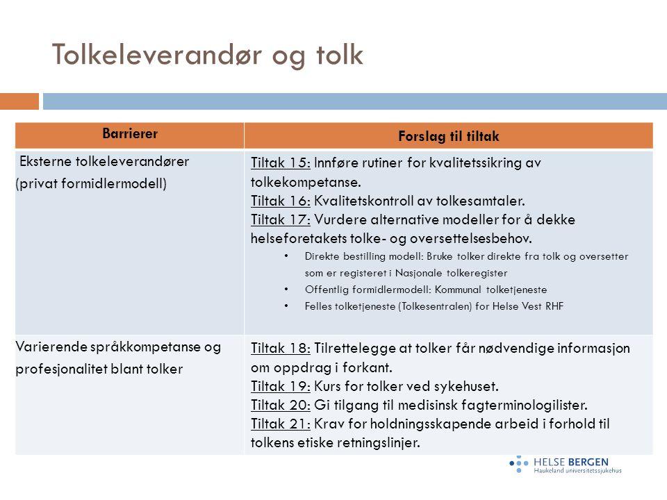 Tolkeleverandør og tolk Barrierer Forslag til tiltak Eksterne tolkeleverandører (privat formidlermodell) Tiltak 15: Innføre rutiner for kvalitetssikring av tolkekompetanse.