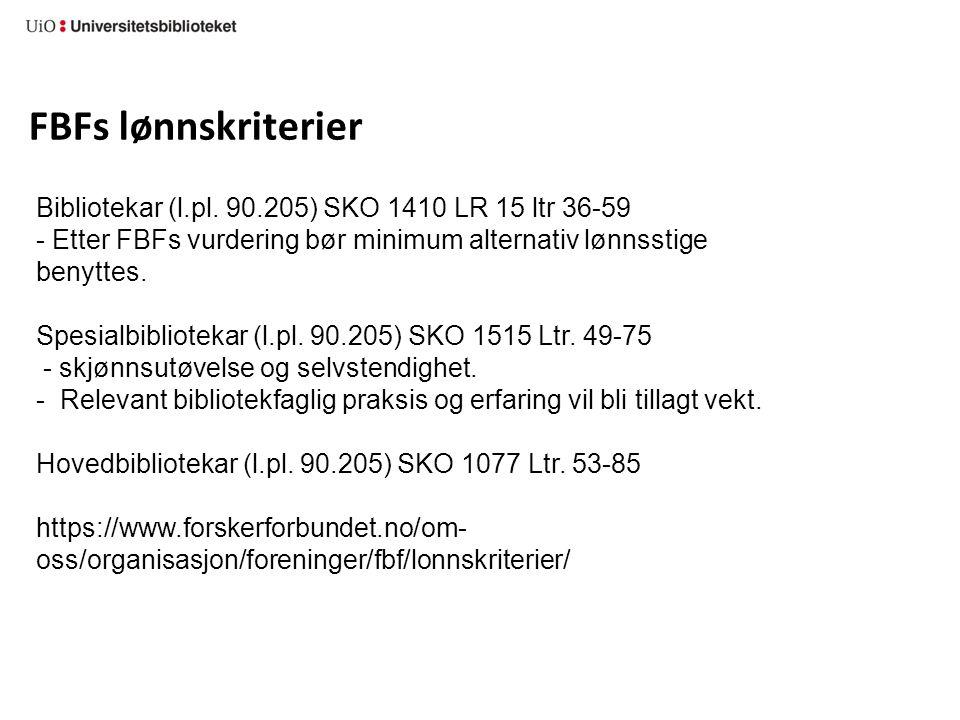 FBFs lønnskriterier Bibliotekar (l.pl.