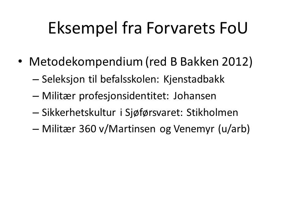 Eksempel fra Forvarets FoU Metodekompendium (red B Bakken 2012) – Seleksjon til befalsskolen: Kjenstadbakk – Militær profesjonsidentitet: Johansen – S