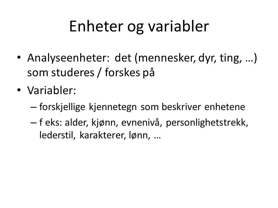 Enheter og variabler Analyseenheter: det (mennesker, dyr, ting, …) som studeres / forskes på Variabler: – forskjellige kjennetegn som beskriver enhete