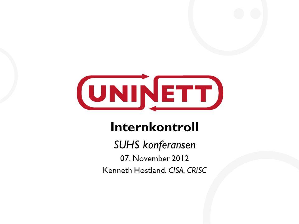 2 Innhold  Internkontroll  Regulatorisk forankring  Ulike tilnærminger til internkontroll  Litt om trusler  Generelle erfaringer med internkontroll  Internkontroll i UH sektoren  Styrende, gjennomførende og kontrollerende dokumentasjon  Risikostyring