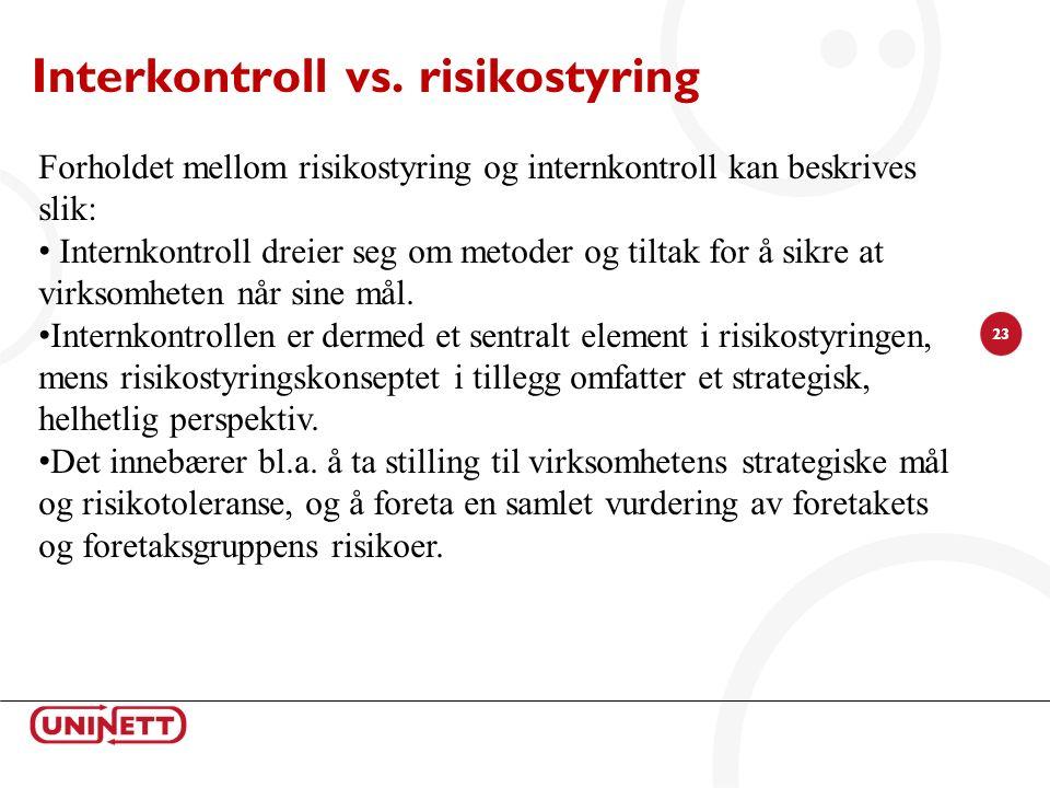 23 Interkontroll vs. risikostyring Forholdet mellom risikostyring og internkontroll kan beskrives slik: Internkontroll dreier seg om metoder og tiltak
