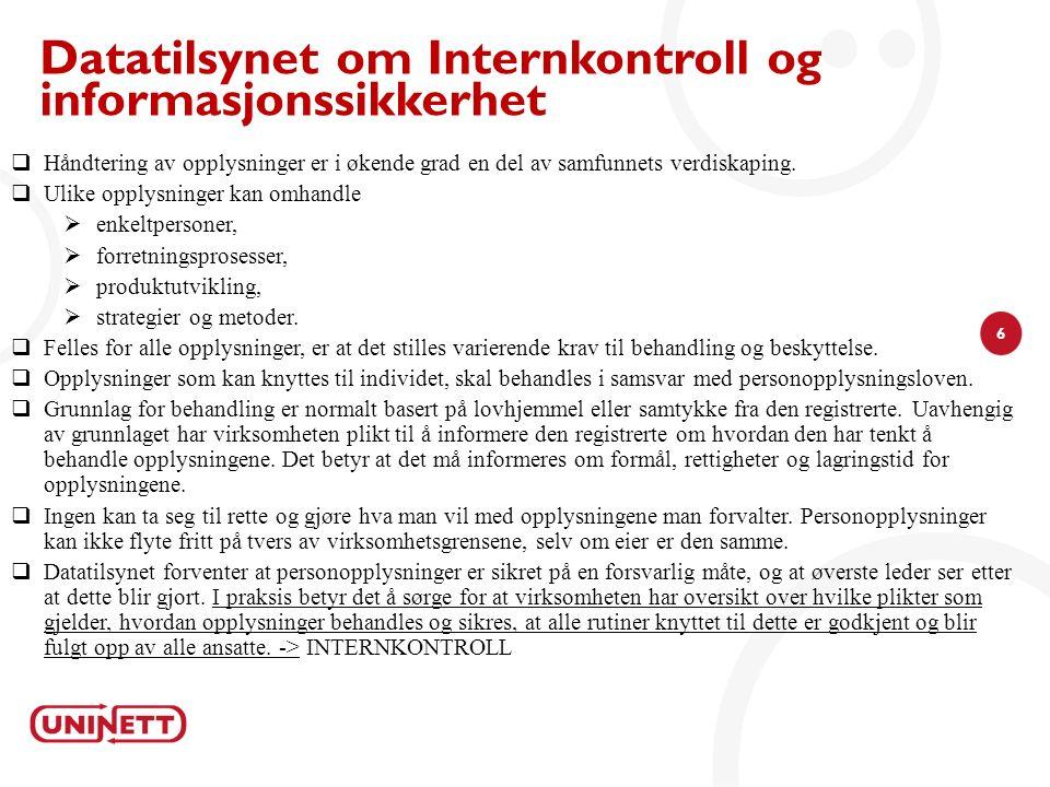 27 Internkontroll i UH siden 2008 Etablering av Policy for informasjonssikkerhet Tilpassning i WS 2008 -2012 IT revisjon/ Kartlegging Utkast til policy og rutiner mm.