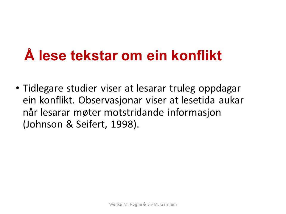 Å lese tekstar om ein konflikt Tidlegare studier viser at lesarar truleg oppdagar ein konflikt.