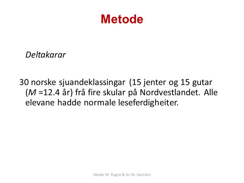 Metode Deltakarar 30 norske sjuandeklassingar (15 jenter og 15 gutar (M =12.4 år) frå fire skular på Nordvestlandet.