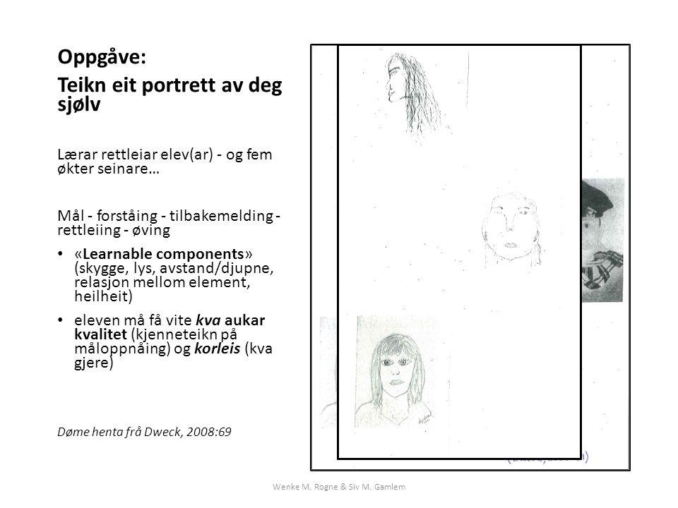 Oppgåve: Teikn eit portrett av deg sjølv Lærar rettleiar elev(ar) - og fem økter seinare… Mål - forståing - tilbakemelding - rettleiing - øving «Learnable components» (skygge, lys, avstand/djupne, relasjon mellom element, heilheit) eleven må få vite kva aukar kvalitet (kjenneteikn på måloppnåing) og korleis (kva gjere) Døme henta frå Dweck, 2008:69 Wenke M.