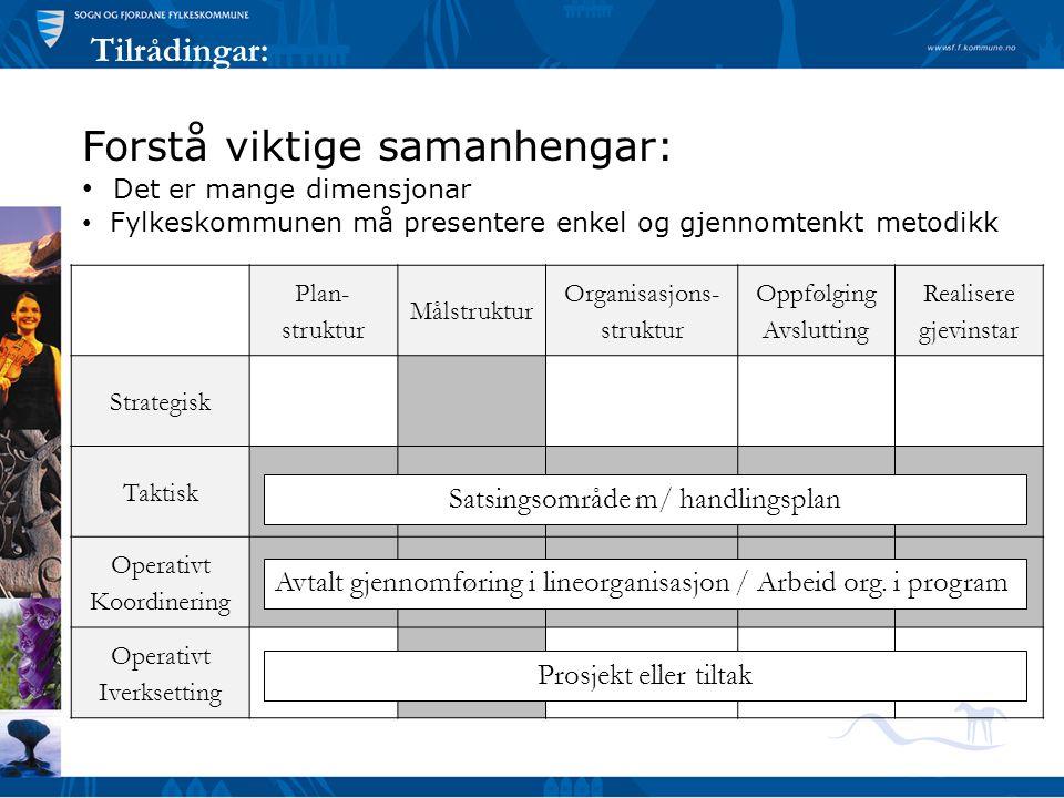 Tilrådingar: Plan- struktur Målstruktur Organisasjons- struktur Oppfølging Avslutting Realisere gjevinstar Strategisk Taktisk Operativt Koordinering O