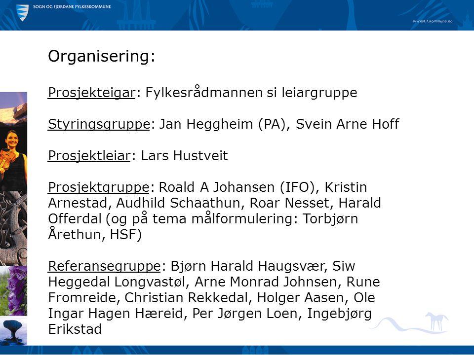 Organisering: Prosjekteigar: Fylkesrådmannen si leiargruppe Styringsgruppe: Jan Heggheim (PA), Svein Arne Hoff Prosjektleiar: Lars Hustveit Prosjektgr