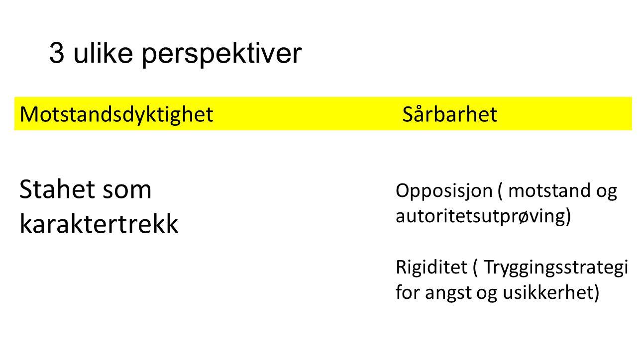 3 ulike perspektiver Motstandsdyktighet Sårbarhet Stahet som karaktertrekk Opposisjon ( motstand og autoritetsutprøving) Rigiditet ( Tryggingsstrategi for angst og usikkerhet)