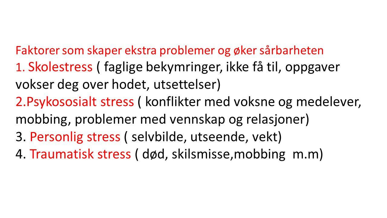 Faktorer som skaper ekstra problemer og øker sårbarheten 1.