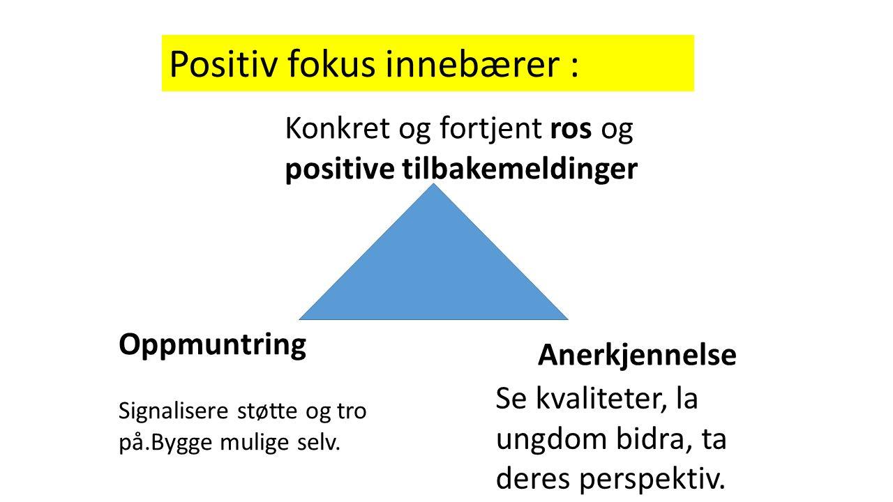 Positiv fokus innebærer : Konkret og fortjent ros og positive tilbakemeldinger Anerkjennelse Se kvaliteter, la ungdom bidra, ta deres perspektiv.