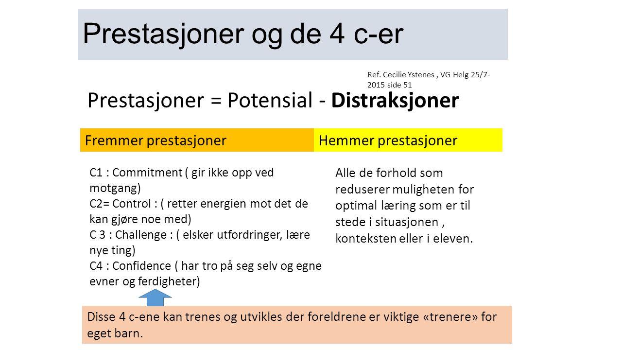 Prestasjoner og de 4 c-er Prestasjoner = Potensial - Distraksjoner C1 : Commitment ( gir ikke opp ved motgang) C2= Control : ( retter energien mot det de kan gjøre noe med) C 3 : Challenge : ( elsker utfordringer, lære nye ting) C4 : Confidence ( har tro på seg selv og egne evner og ferdigheter) Alle de forhold som reduserer muligheten for optimal læring som er til stede i situasjonen, konteksten eller i eleven.
