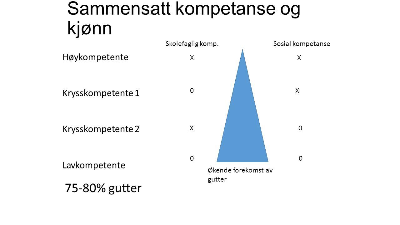 Sammensatt kompetanse og kjønn Høykompetente Krysskompetente 1 Krysskompetente 2 Lavkompetente Skolefaglig komp.
