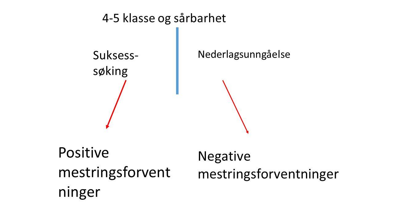 4-5 klasse og sårbarhet Suksess- søking Nederlagsunngåelse Positive mestringsforvent ninger Negative mestringsforventninger
