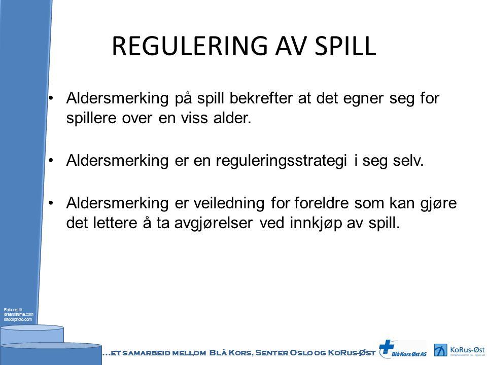 REGULERING AV SPILL PEGI`s aldersmerking (http/www.pegi.info/no/index) Foto og ill.: dreamstime.com istockphoto.com...et samarbeid mellom Blå Kors, Senter Oslo og KoRus-Øst