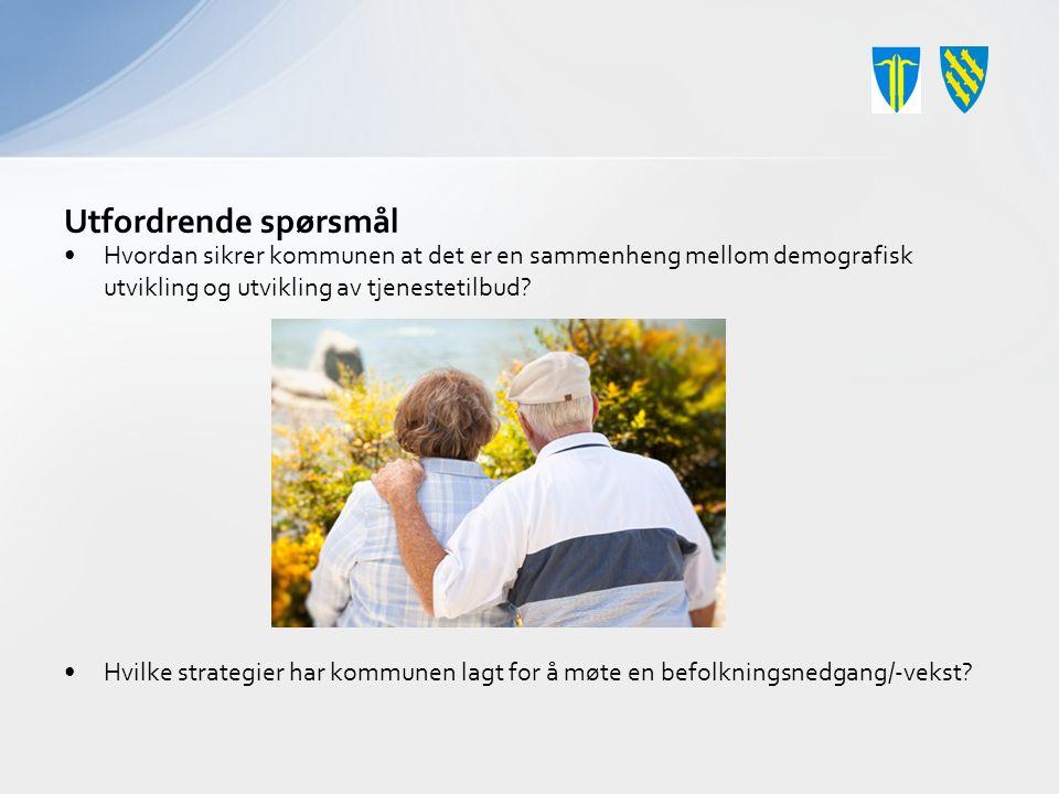 Utfordrende spørsmål Hvordan sikrer kommunen at det er en sammenheng mellom demografisk utvikling og utvikling av tjenestetilbud.