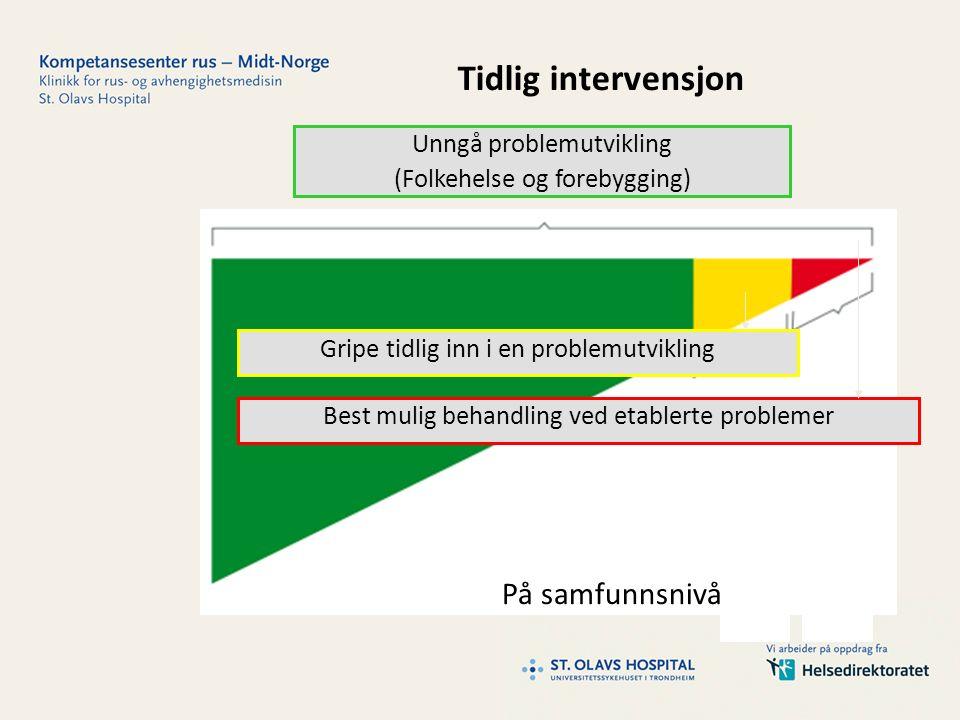 På samfunnsnivå Unngå problemutvikling (Folkehelse og forebygging) Gripe tidlig inn i en problemutvikling Best mulig behandling ved etablerte problemer