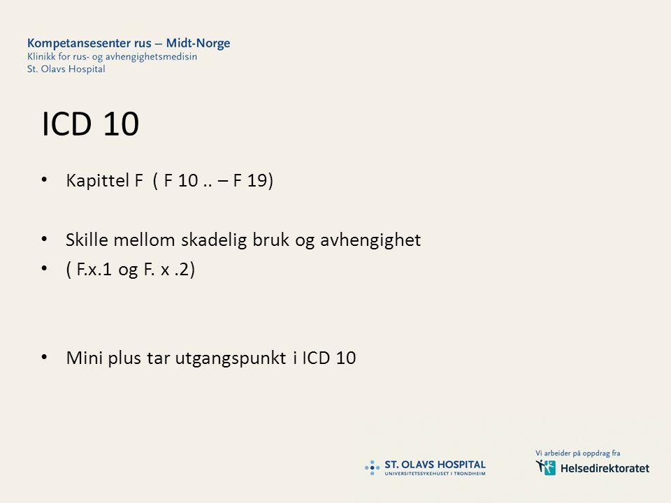 ICD 10 Kapittel F ( F 10.. – F 19) Skille mellom skadelig bruk og avhengighet ( F.x.1 og F.