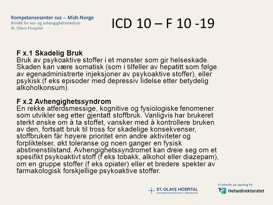 ICD 10 – F 10 -19 F x.1 Skadelig Bruk Bruk av psykoaktive stoffer i et mønster som gir helseskade.