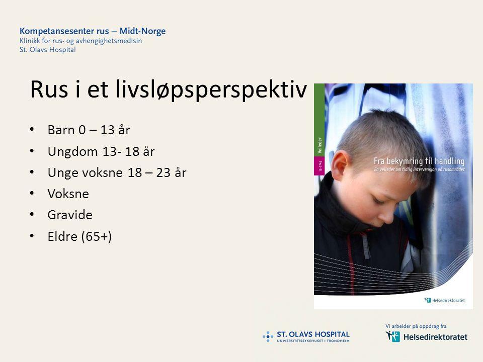 Rus i et livsløpsperspektiv Barn 0 – 13 år Ungdom 13- 18 år Unge voksne 18 – 23 år Voksne Gravide Eldre (65+)