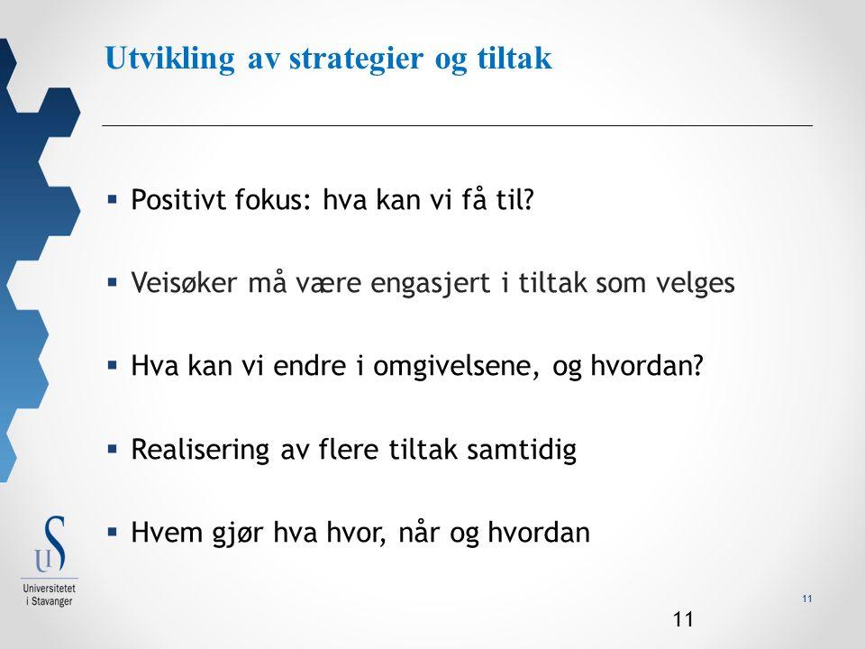 11 Utvikling av strategier og tiltak  Positivt fokus: hva kan vi få til.