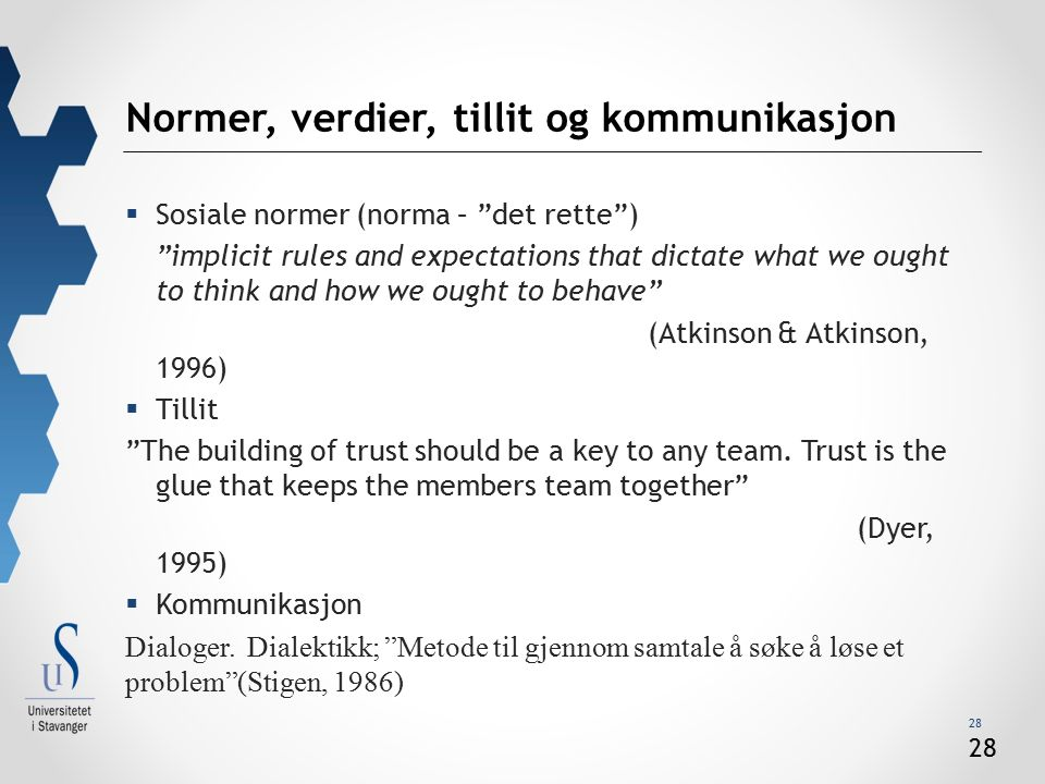 "28 Normer, verdier, tillit og kommunikasjon  Sosiale normer (norma – ""det rette"") ""implicit rules and expectations that dictate what we ought to thin"