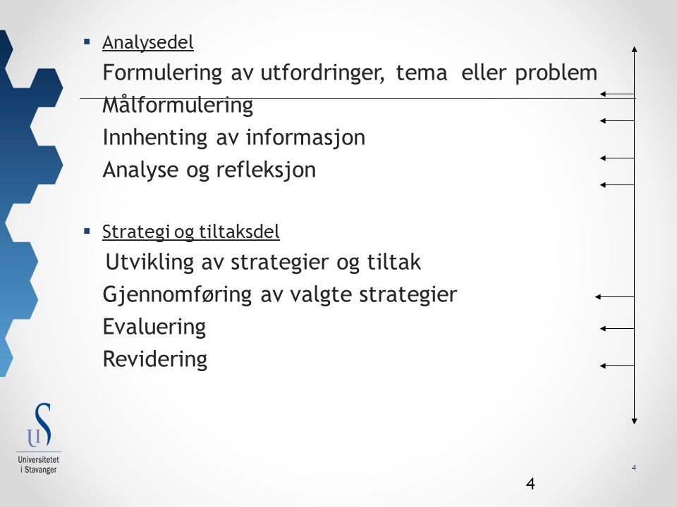 4  Analysedel Formulering av utfordringer, tema eller problem Målformulering Innhenting av informasjon Analyse og refleksjon  Strategi og tiltaksdel Utvikling av strategier og tiltak Gjennomføring av valgte strategier Evaluering Revidering 4