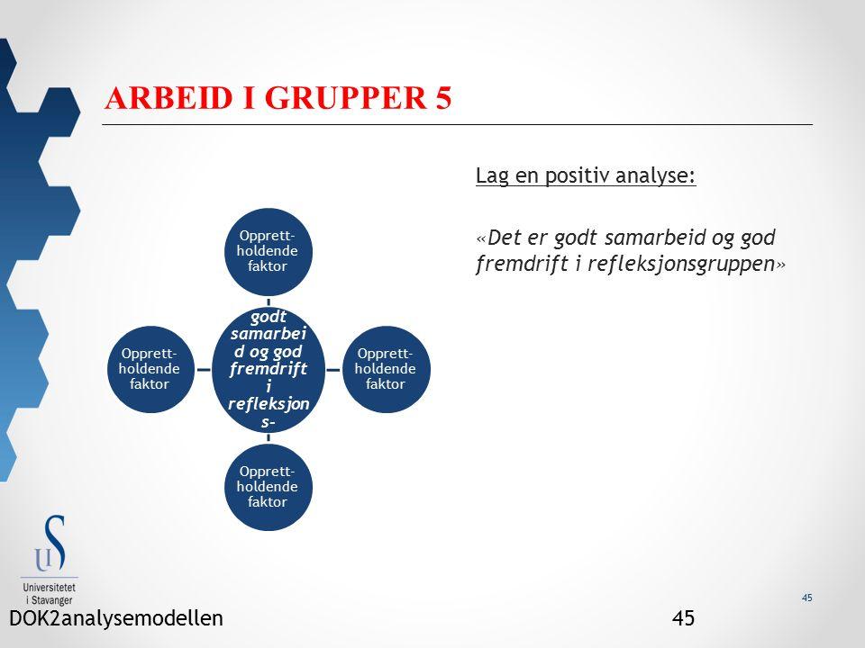 45 ARBEID I GRUPPER 5 Lag en positiv analyse: «Det er godt samarbeid og god fremdrift i refleksjonsgruppen» « Det er godt samarbei d og god fremdrift i refleksjon s- gruppen» Opprett- holdende faktor DOK2analysemodellen45