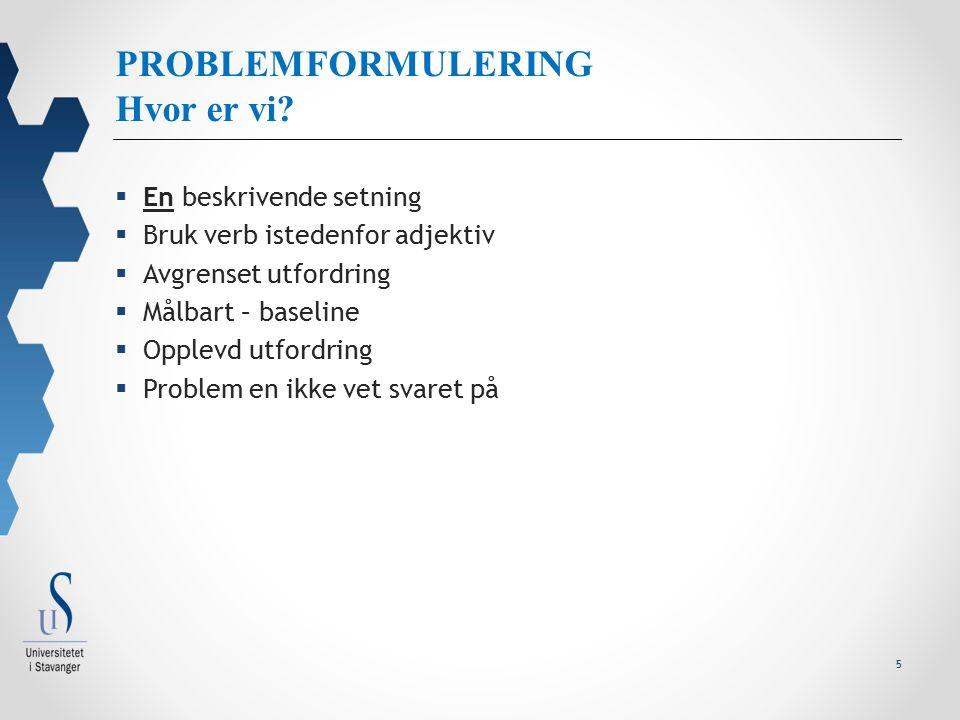 5 PROBLEMFORMULERING Hvor er vi.