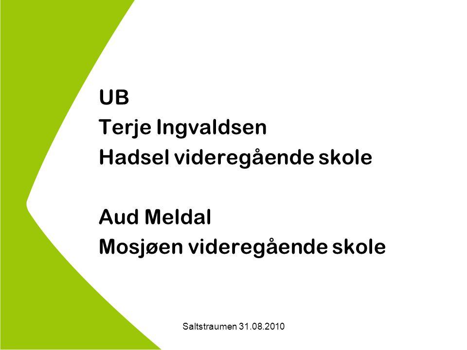 Saltstraumen 31.08.2010 UB Terje Ingvaldsen Hadsel videregående skole Aud Meldal Mosjøen videregående skole