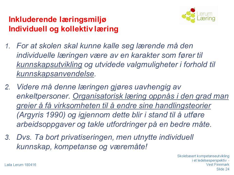 Slide 24 Laila Lerum 180416 Skolebasert kompetanseutvikling i et ledelsesperspektiv - Vest Finnmark Inkluderende læringsmiljø Individuell og kollektiv læring 1.