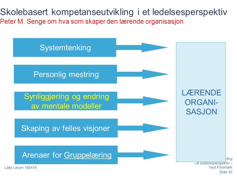 Slide 45 Laila Lerum 180416 Skolebasert kompetanseutvikling i et ledelsesperspektiv - Vest Finnmark Skolebasert kompetanseutvikling i et ledelsesperspektiv Peter M.